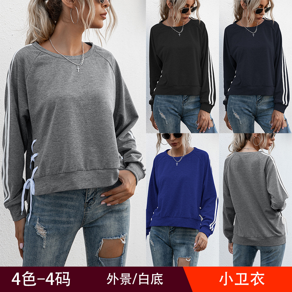 European and American Autumn and Winter Striped Round Neck Pullover Sweater Loose Casual Top Women