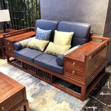 新中式沙发现代中式禅意客厅酒店别墅全实木布艺沙发组合家具定制