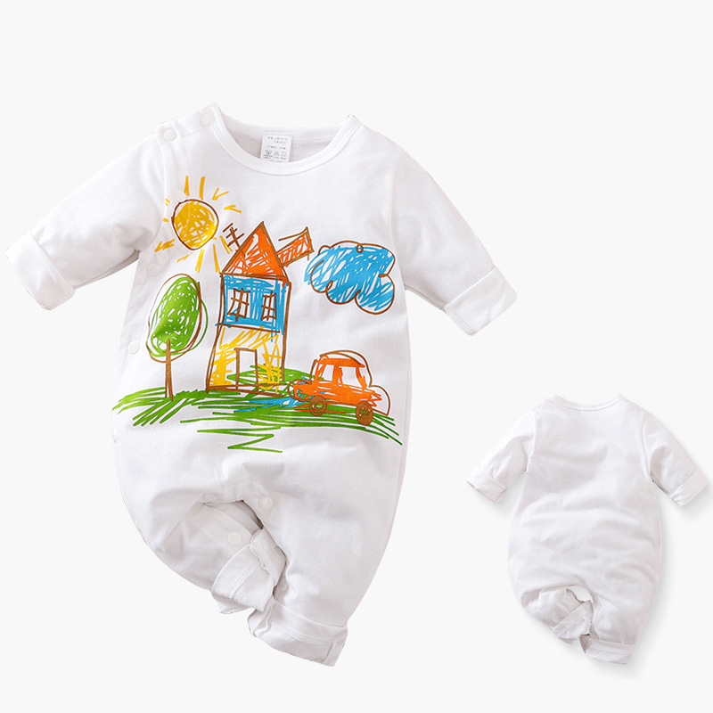 Baby clothes spring long-sleeved newborn cotton one-piece baby romper ins clothing stall supply 012 fun graffiti 59cm