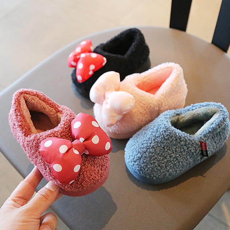 儿童棉拖鞋男童女童秋冬季包跟防滑保暖小孩可爱蝴蝶结宝宝棉鞋冬