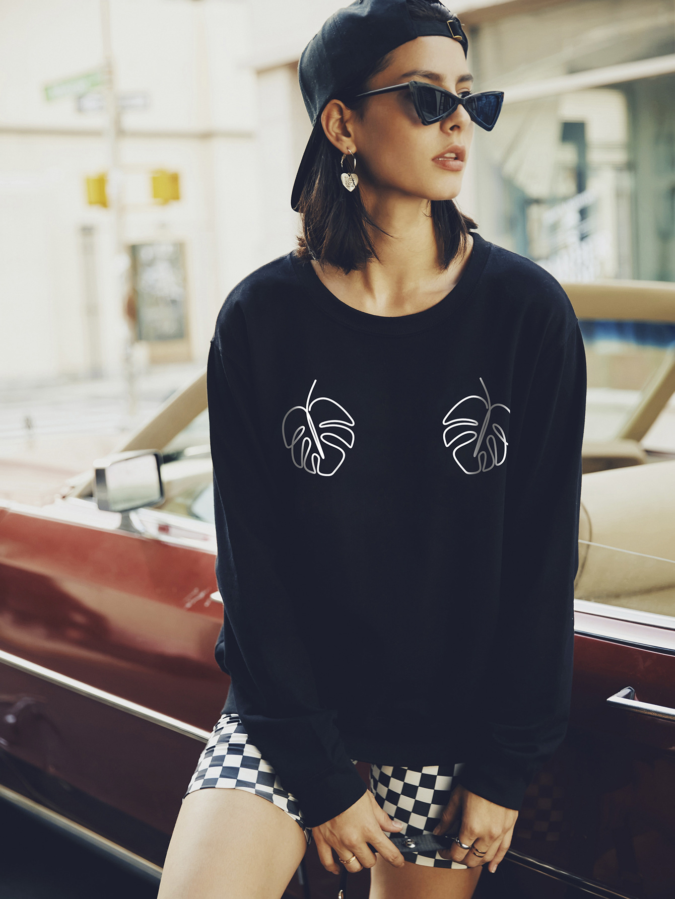 round neck long sleeve street casual hoodies for women NSSN1742