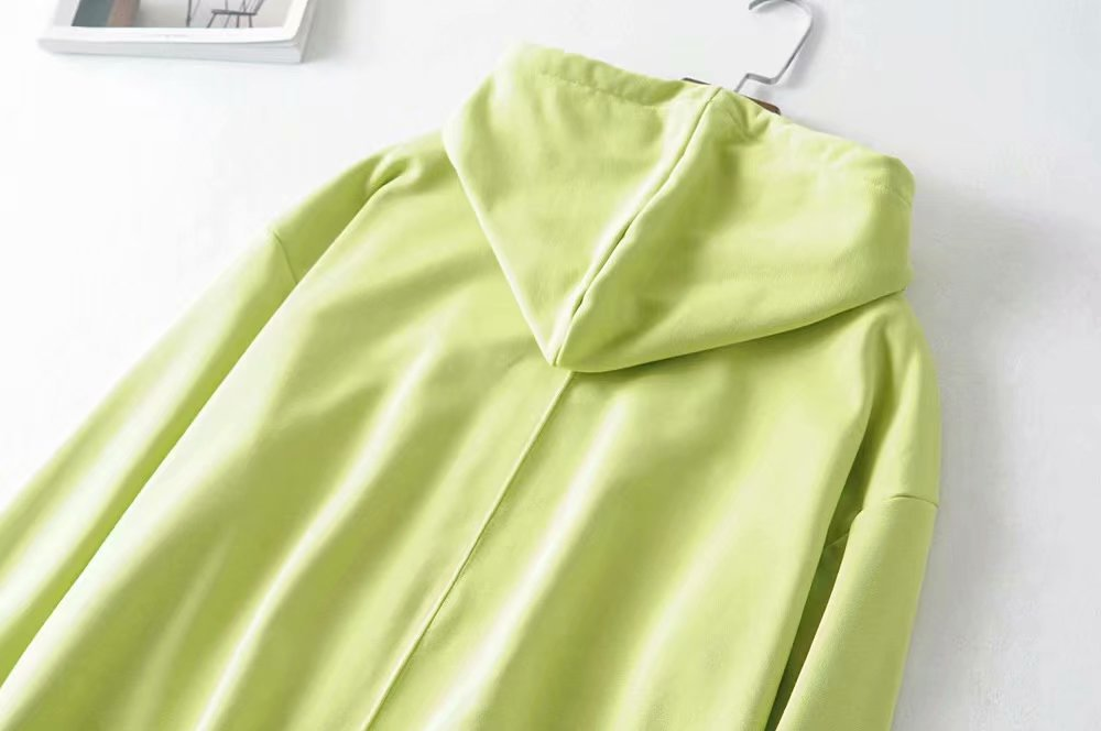 wholesale new cotton terry fabric stitching loose drawstring hooded sweater  NHAM244152