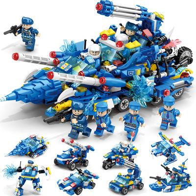 货源乐迪拼儿童益智拼装玩具兼容乐高式小颗粒积木小男孩警察拼搭积木批发
