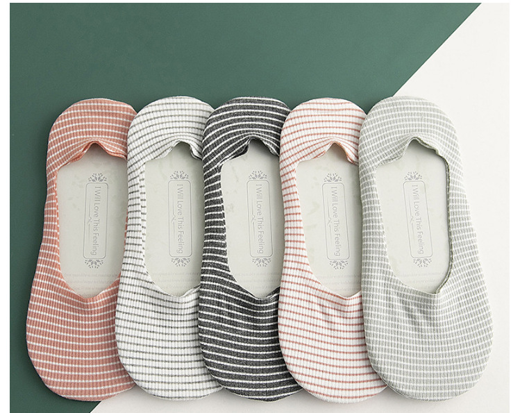 Boat socks wholesale shallow mouth invisible female boat socks summer thin section striped socks silicone nonslip socks NHER206456
