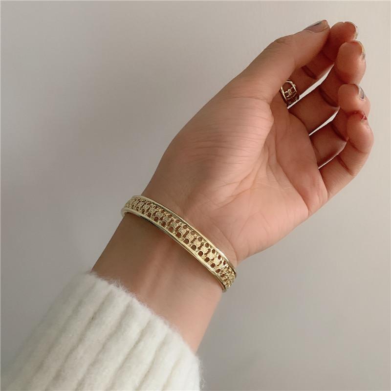 French  metal doublelayer open bracelet  NHYQ283684