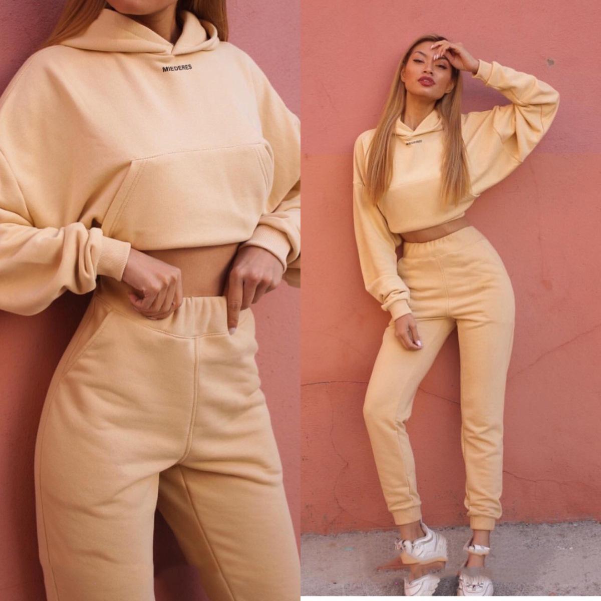 2020秋冬热卖爆款!亚马逊ebay新款时尚长袖运动休闲套装两件套