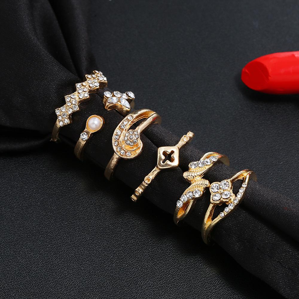 New geometric zinc alloy ring combination ring set fashion OL ladies ring wholesale NHKQ194164