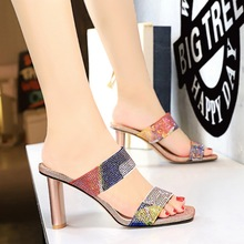 8673-1 Korean daily trend women's sandals, thick heels, shiny Rhinestones with slippers, high heels, women's shoes