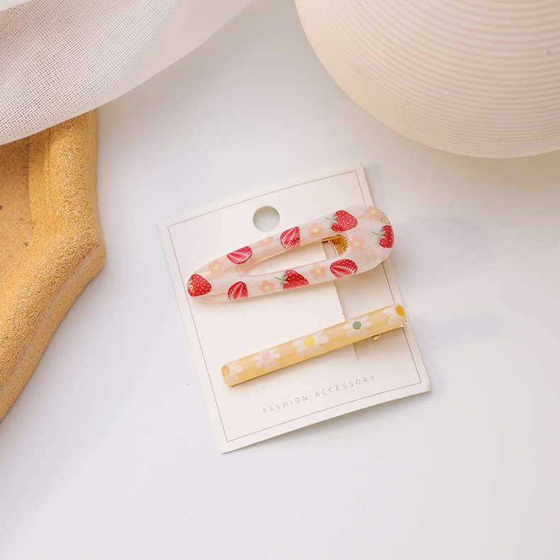 New summer color fruit flower hair clip two-piece set sweet cute cherry strawberry daisy clip wholesale nihaojewelry NHMS231038