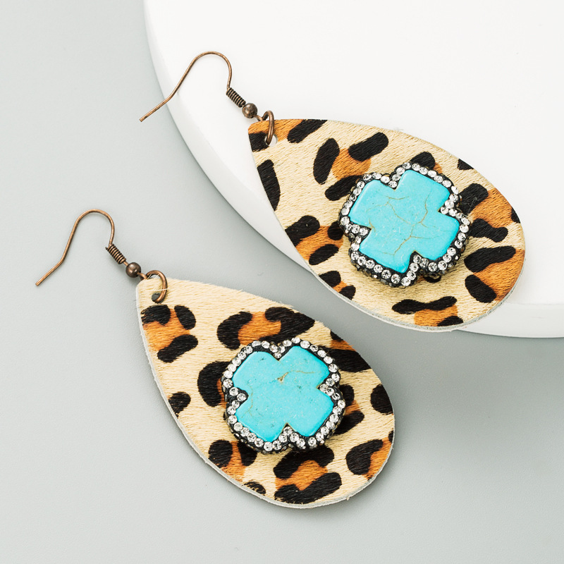 drop-shaped leather leopard print earrings  NHLN289259