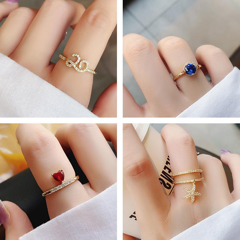韩版流行新款珍珠水钻简约几何爱心海星戒指时尚甜美气质指环手饰