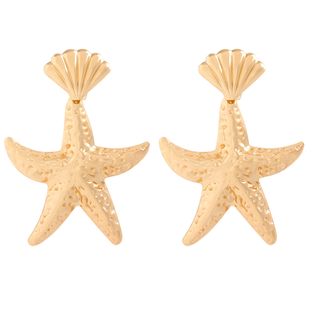 The new alloy starfish shell earrings for women wholesale NHJE207251