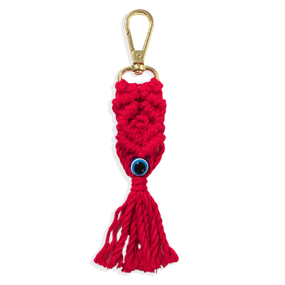 The new metal buckle color cotton sliver handwoven eye pattern tassel keychain wholesale nihaojewerly NHJQ243067