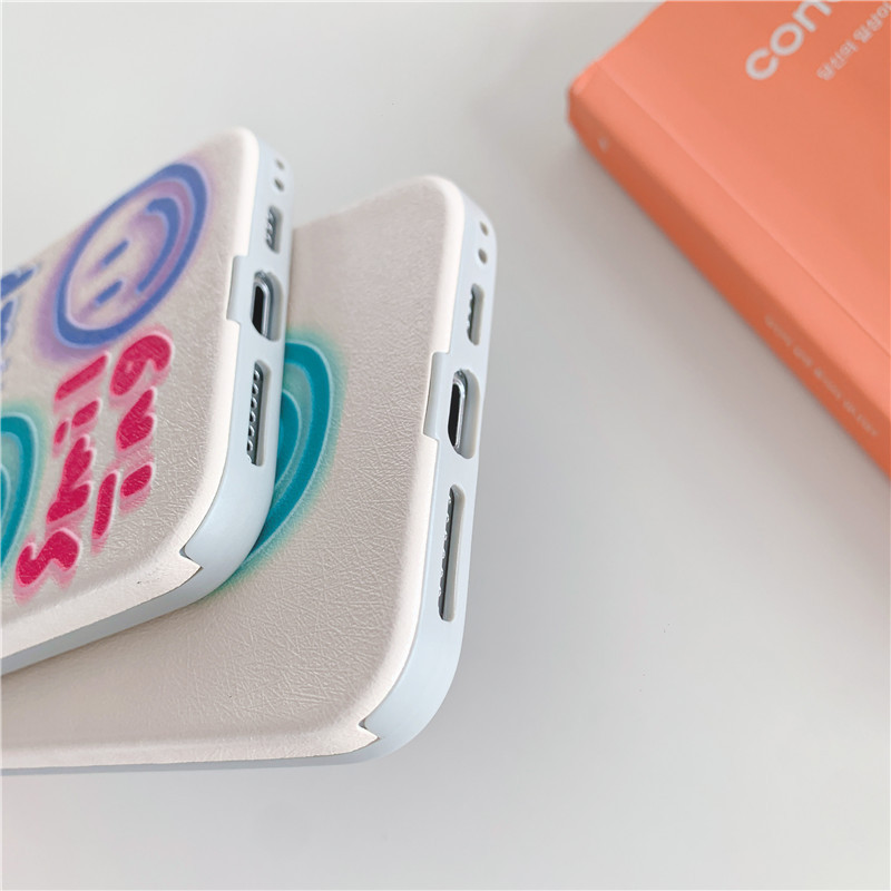 Fashion cute Smiley emoticon graffiti phone case for iPhone11 pro silicone silk embossed Apple se2  P40 phone case wholesale   NHFI237460