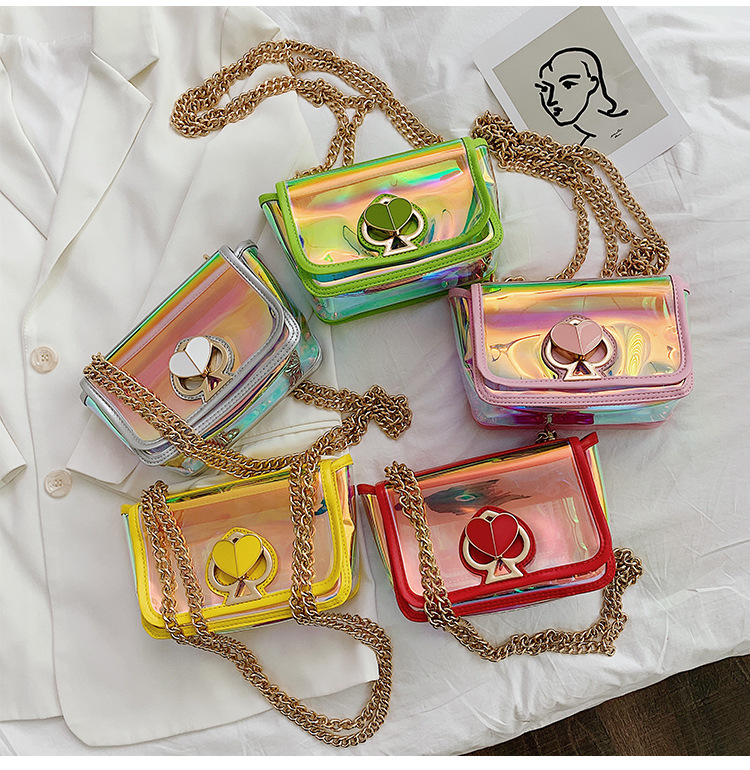 summer new PVC transparent laser bag peach heart color chain bag shoulder messenger bag nihaojewelry wholesale NHGA216841