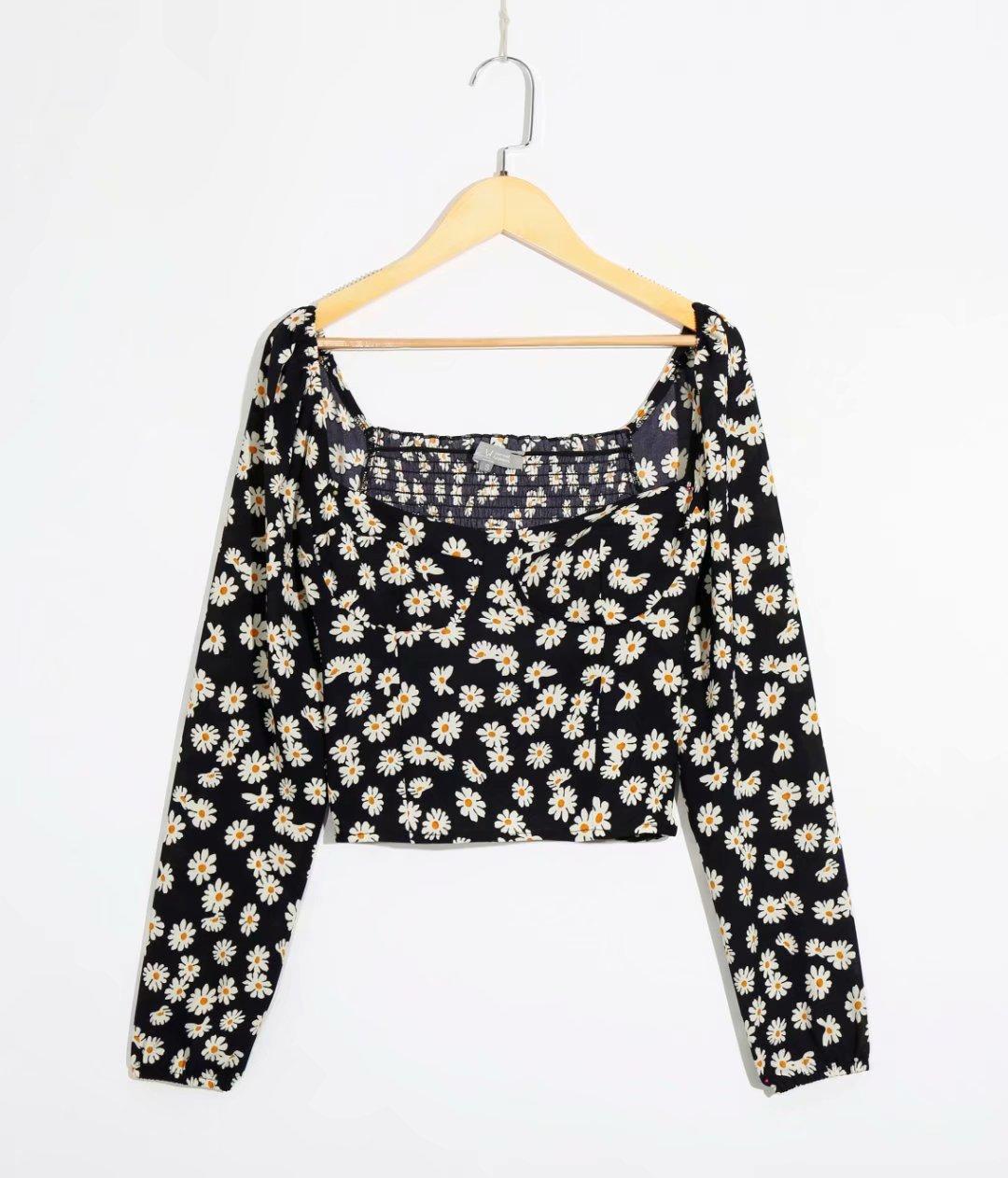 2020 European and American spring women's new wholesale sun flower long sleeve printed shirt