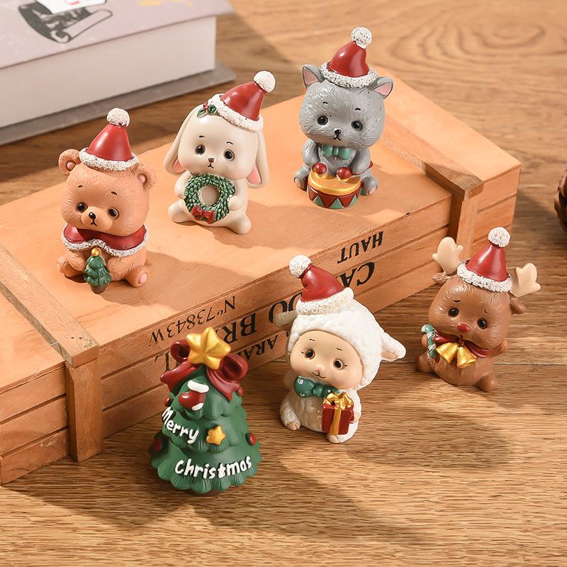 圣诞树脂家族小动物摆件 创意家居装饰迷你圣诞树老人圣诞节礼物