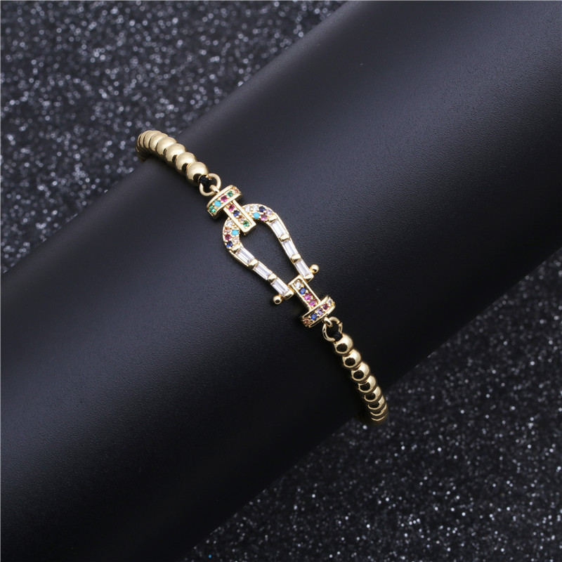 Nihaojewelry Hot Sale Micro Copper Inlaid Colored Zircon Beaded Bracelet NHYL199486