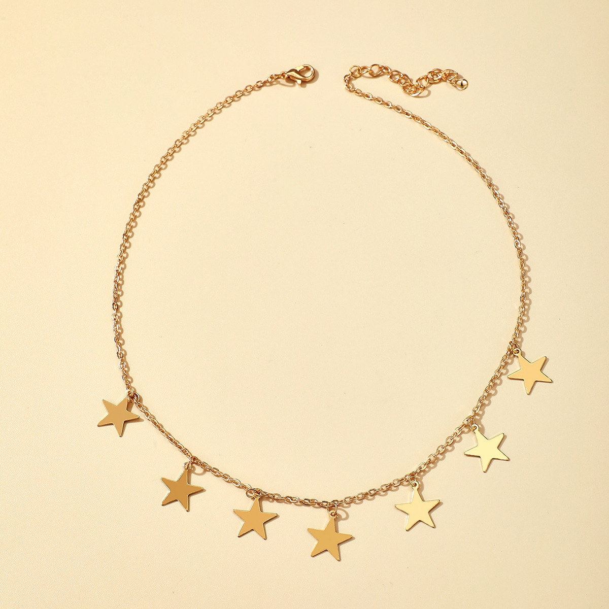 Korean five-pointed star diamond butterfly pendant single layer necklace  NHGY269546