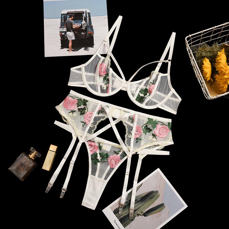 Rose embroidered mesh sheer garter lingerie set NSWY45240