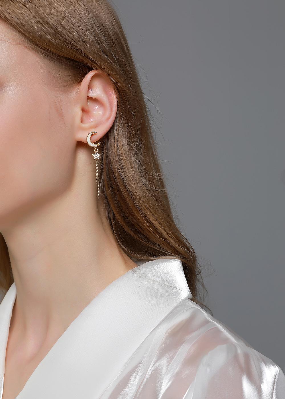 S925 silver star tassel inlaid white motherofpearl moon long earrings NHDP263835