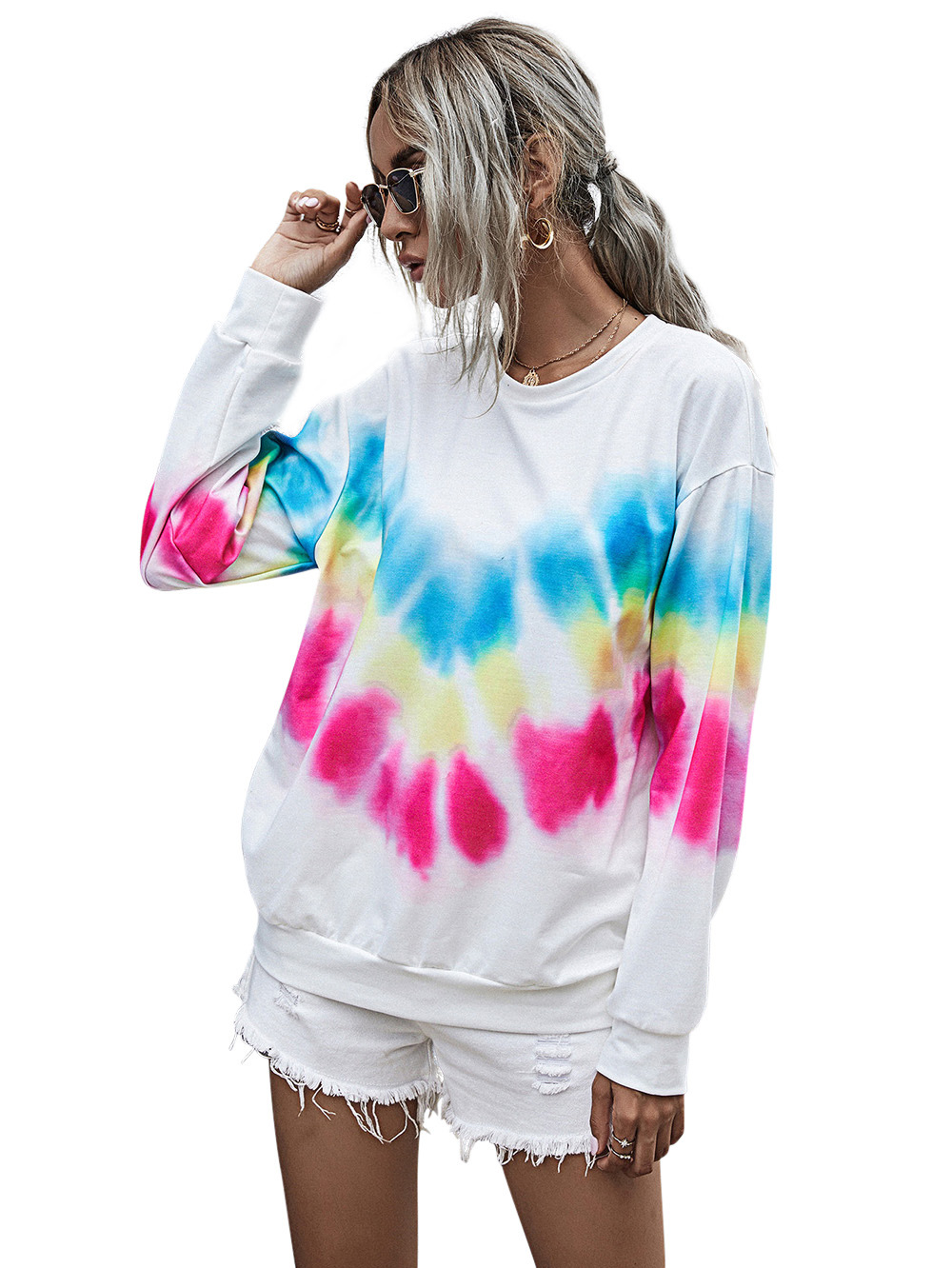 autumn and winter women's new digital printing round neck long-sleeved lazy tie-dye sweater  NSDF910