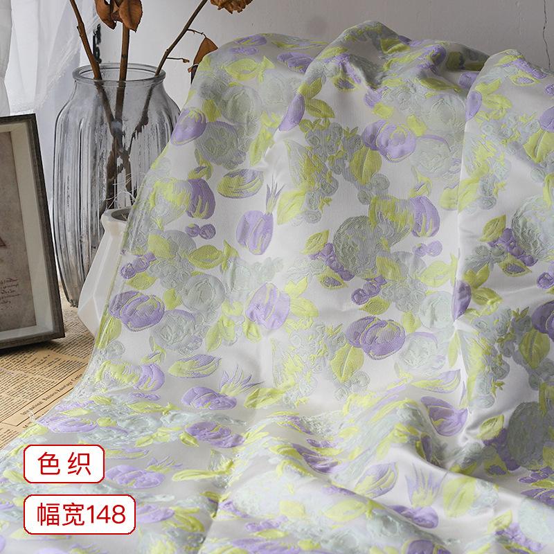 新款小清新风格色织提花面料薄荷绿清爽系浮雕质感水果提花布料