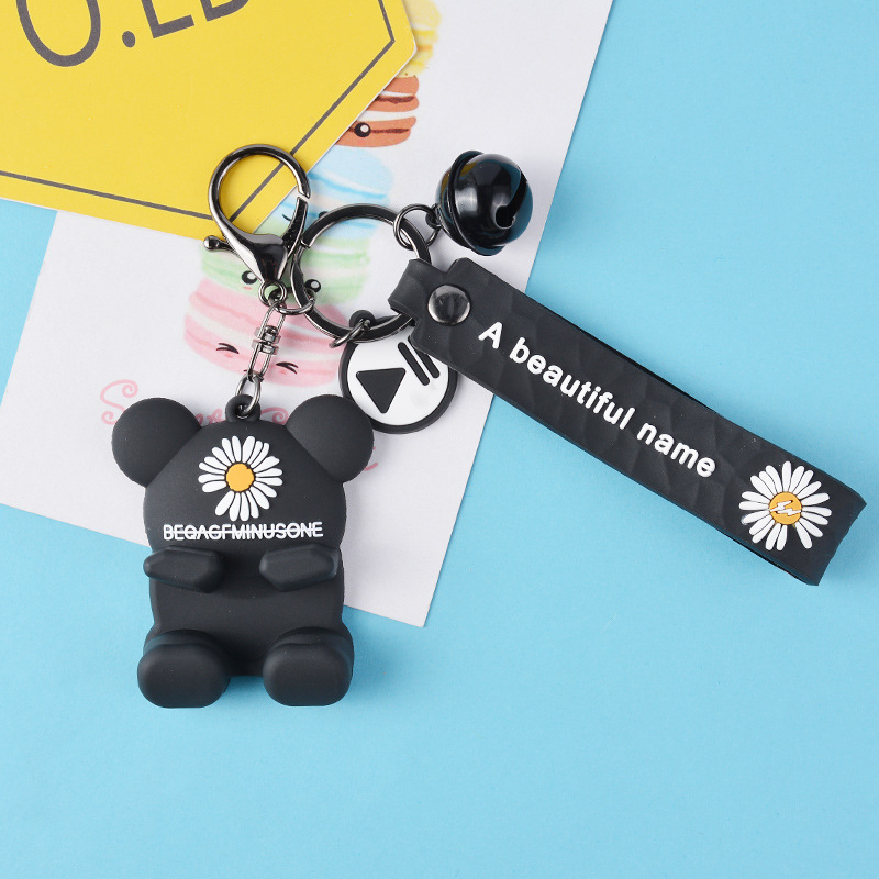 fashion new simple  Daisy key chain Korean police bear creative bag car small pendant accessories gift wholesale NHCB216415