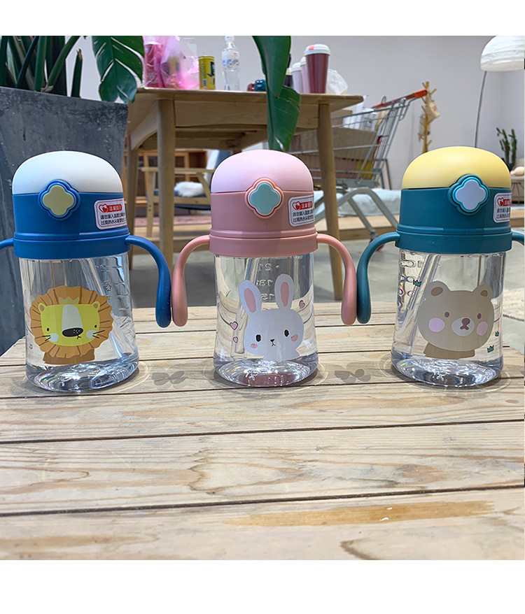 Cute plastic straw cups   baby drop-proof  choke resistant with handle  water cup NHtn273095