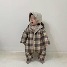 韩国代购同款婴幼儿格子连体衣外出棉服防风外套两面穿男童夹棉冬