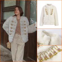 秋冬时尚名媛风羊羔毛加厚上衣小个子短款盘扣立领羊羔绒毛绒外套
