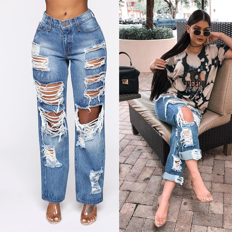 European And American Ladies Jeans Ripped Non-Stretch Trousers