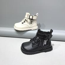 2020秋冬新款儿童皮靴批发男童皮面中帮皮靴女童韩版侧拉链马丁靴