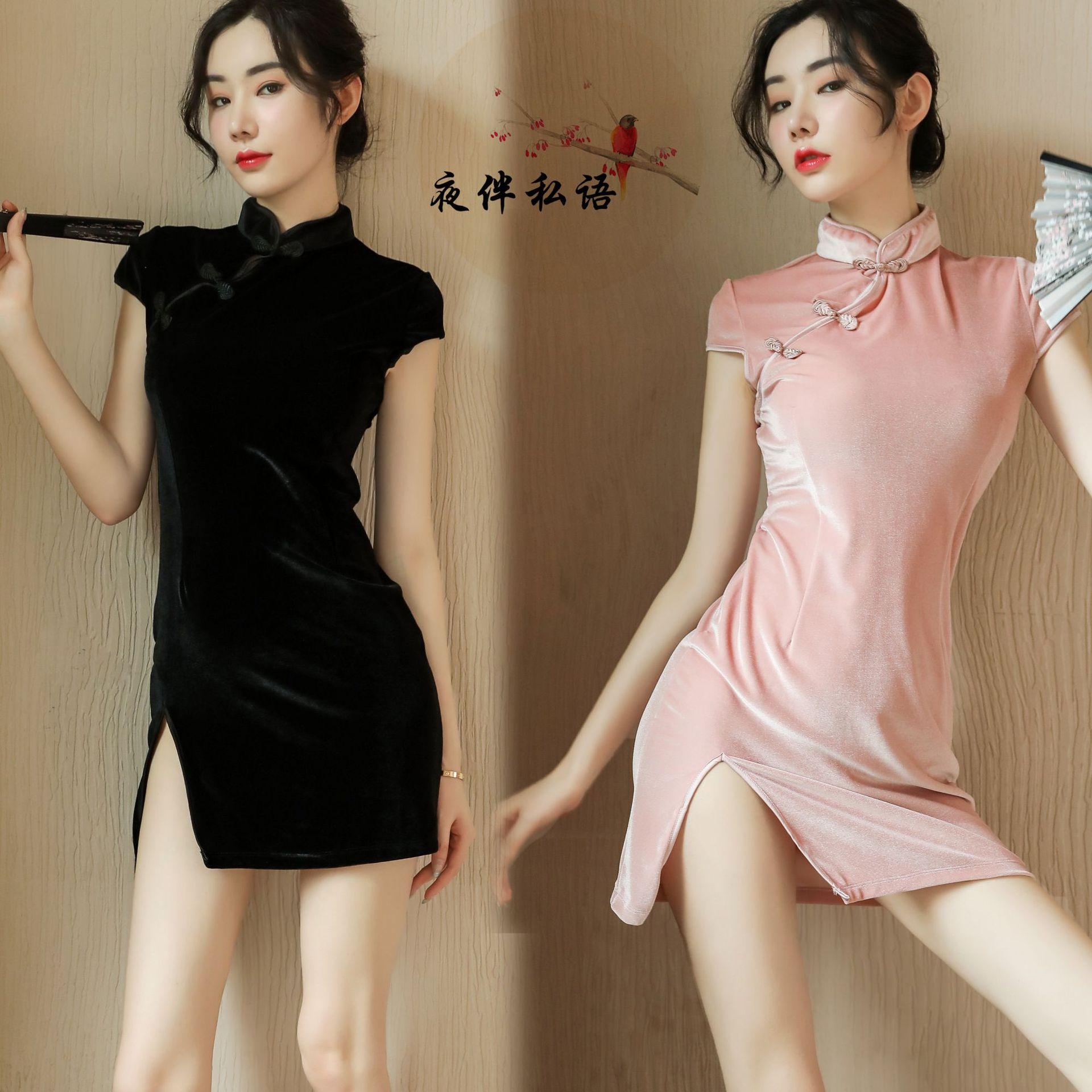 旗袍清新少女短袖情趣内衣春夏季连衣裙时尚改良气质修身旗袍裙·