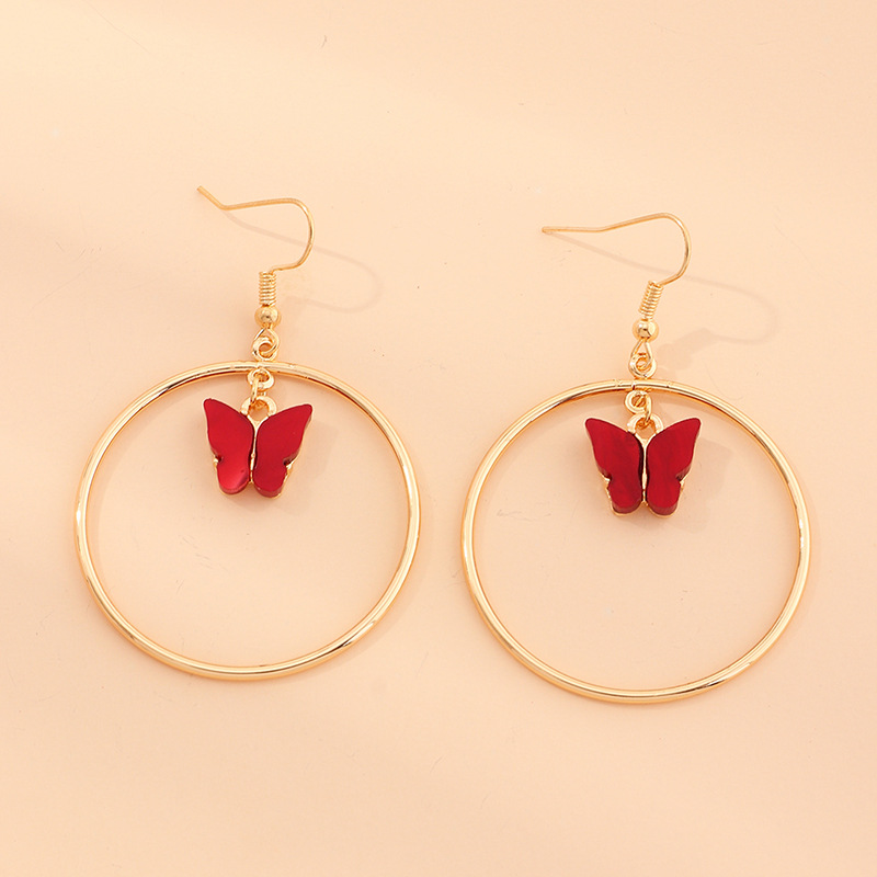 Fashion Watermelon Red Acrylic Butterfly Geometric Round Alloy Earrings