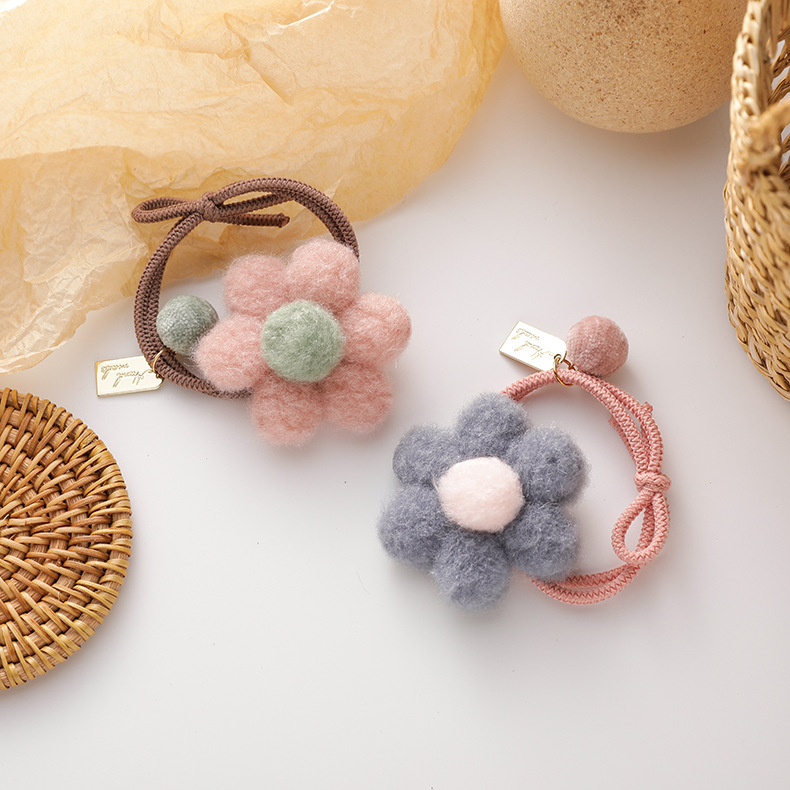 New cute candy color flower color flower ball hair ring color hair accessories NHMS251579