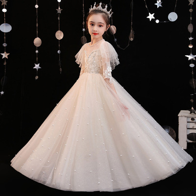 Children dignified dress flower show piano performance dress girl white wedding dress girl princess dress host chorus show dresses