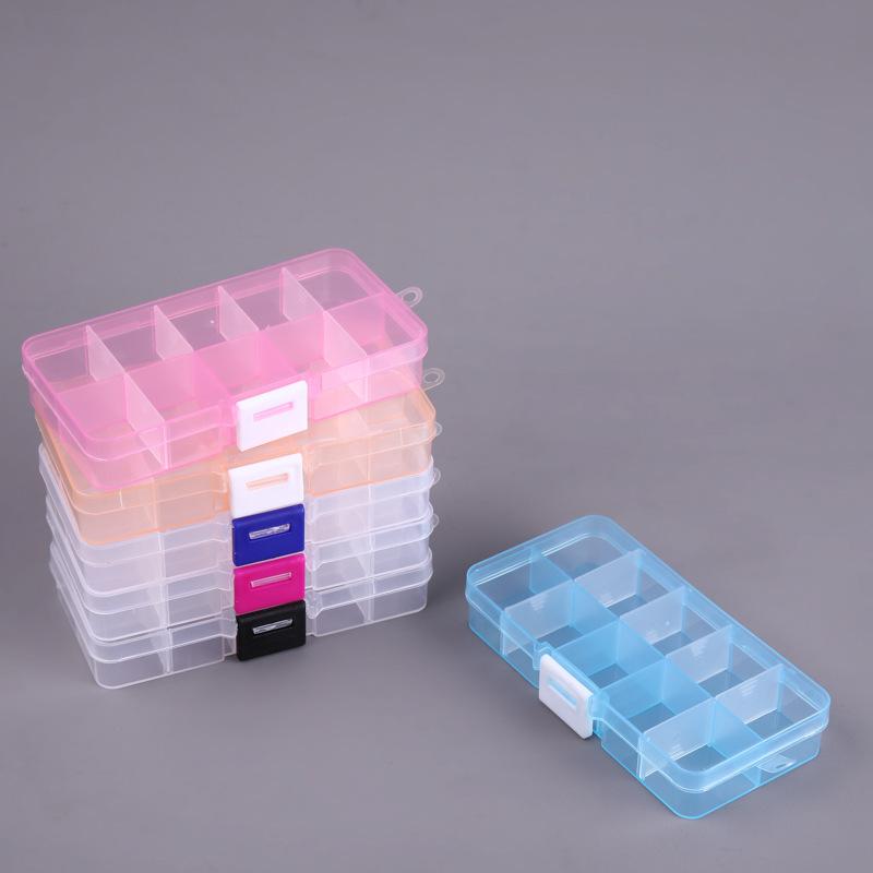 小号10格透明PP塑料盒可拆分类注塑盒零件盒元器件包装收纳盒批发