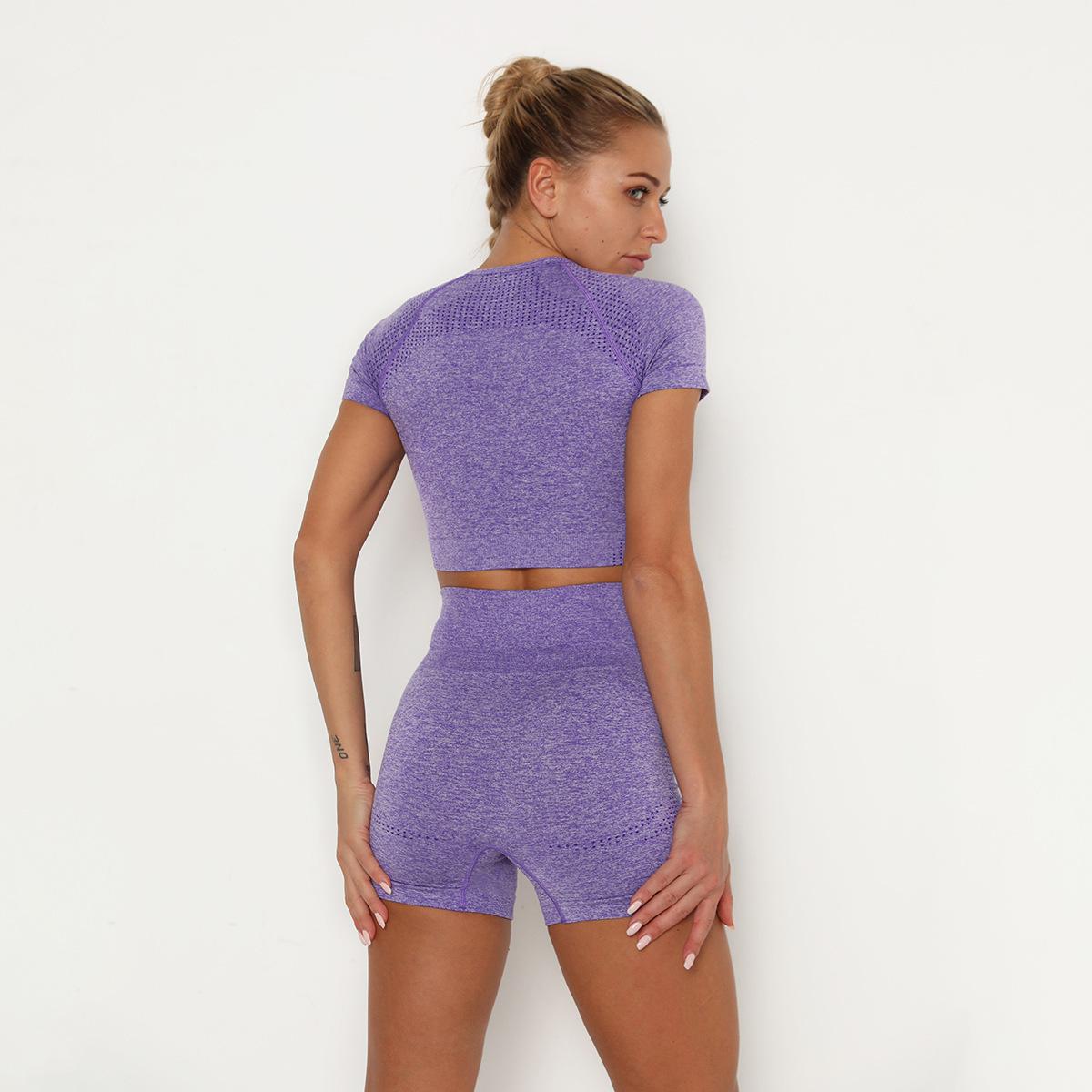 short-sleeved seamless knitted high waist hip tight shorts set NSLX8996