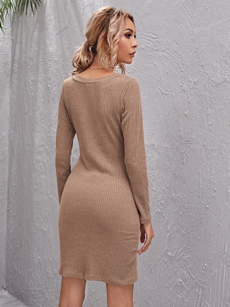 V-neck lace-up hip dress  NSAL1912