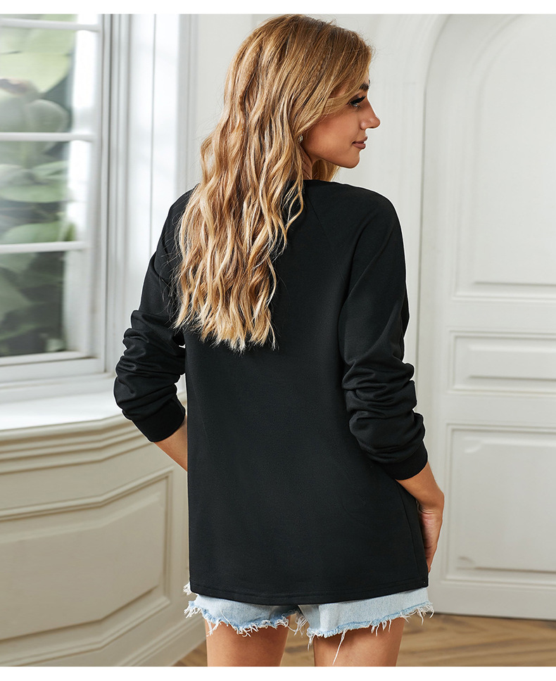 loose casual literal printing long-sleeved round neck ladies sweater NSSI2396