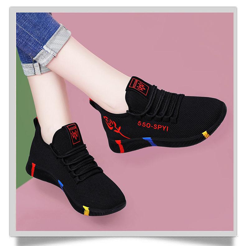 春季新款运动鞋女士透气厚底时尚韩版跑步鞋黑色休闲鞋
