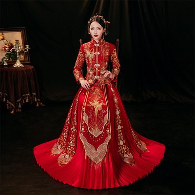 Chinese Xiuhe wedding dress bridal Phoenix gown kimono  dresses for wedding party photos shooting phoenix wedding party dresses