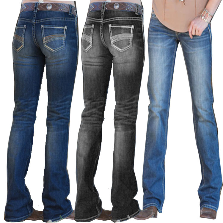 European and American Ladies Jeans Embroidered Washed Slim Trousers