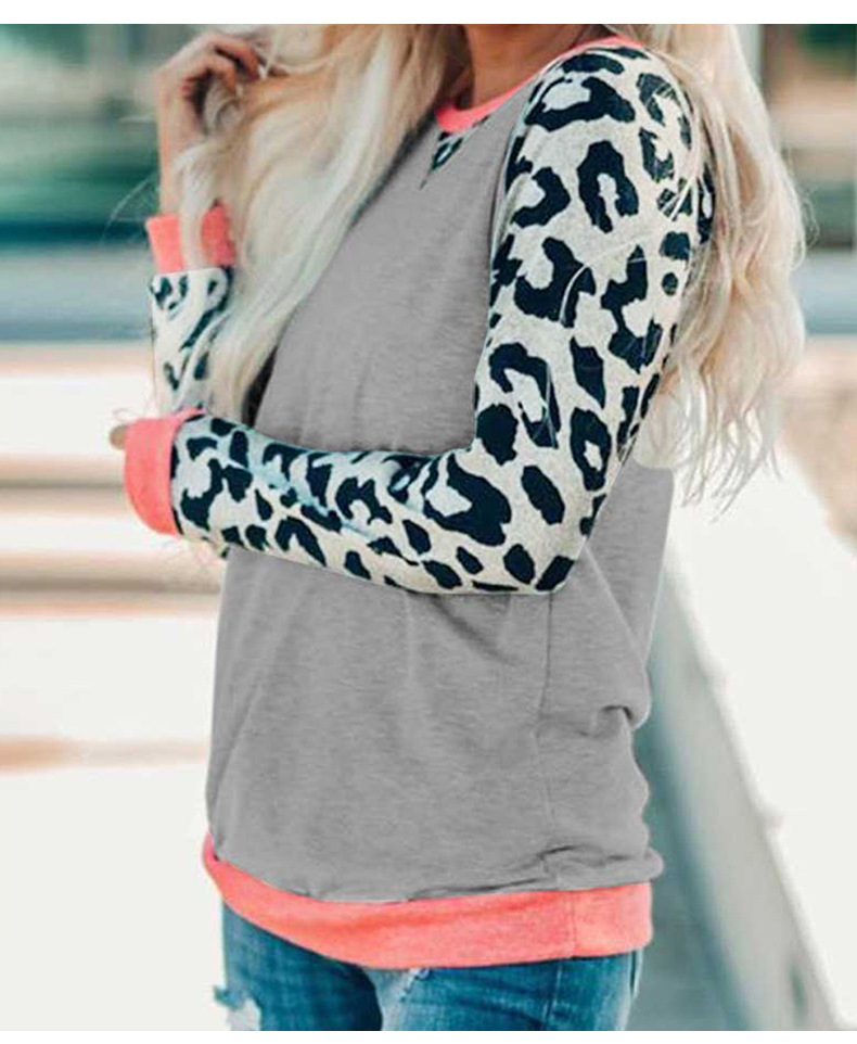women's long-sleeved autumn leopard print contrast stitching street style round neck pullover sweater NSSI2368