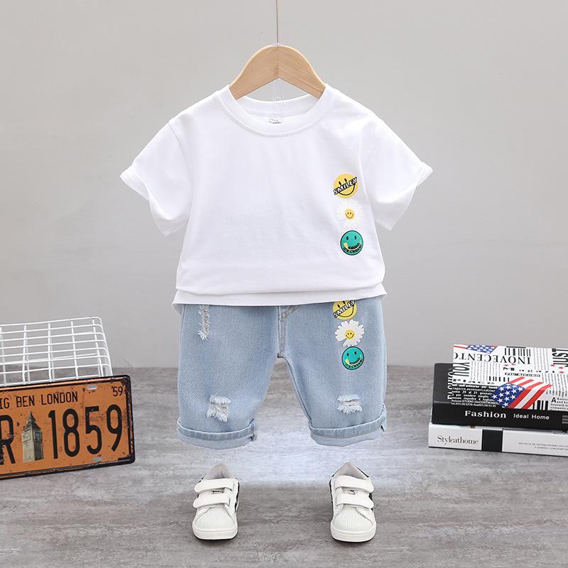 童装男童牛仔套装2020新款中小童春夏款洋气两件套儿童韩版男孩潮