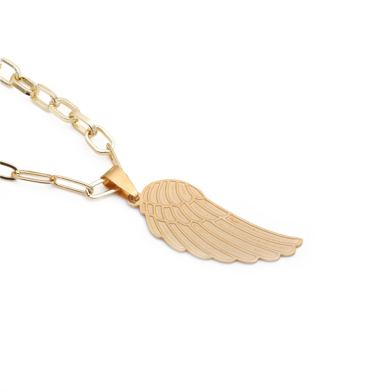 Stainless Steel Angel Wing Pendant Necklace NHYL298527
