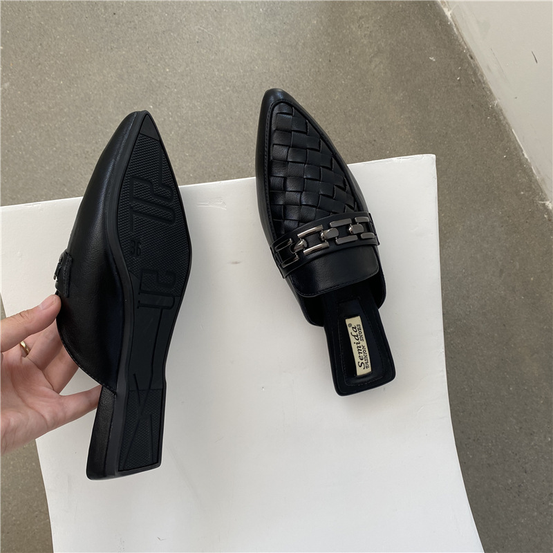 new flat-bottomed pointed toe woven outer wear Baotou half-tow  Muller shoes NHHU266293
