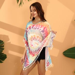 Beach Blouse Tie Dye Knitted Fringe Bikini Outer Blouse Vacation Beach Skirt Women's Guangzhou European and American Dress