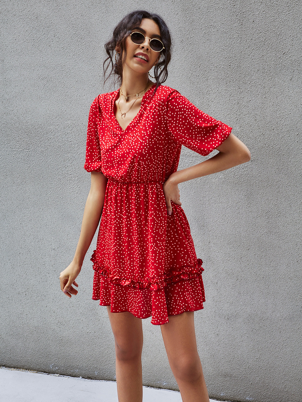 red floral folds waist slimming chiffon dress NSDF1544